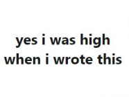 yes i was high when i wrote this